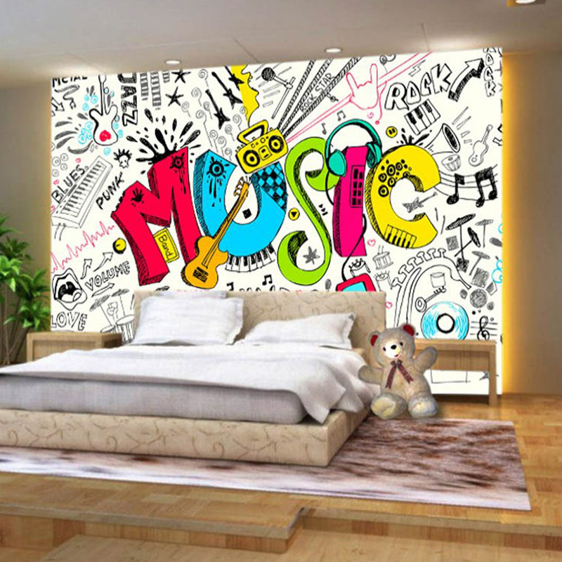 ᗜ lj Beibehang 3d Large Graffiti Wall Street Music Room Coffee Bar