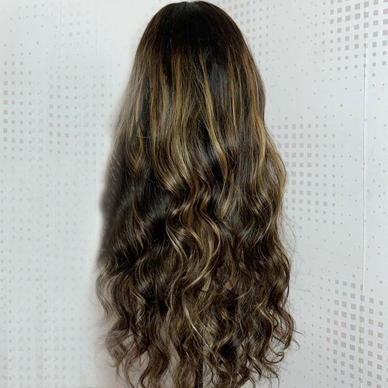Image 2 - Ombre Highlight Brown Blonde Colored Human Hair Wigs Deep 360 Lace Frontal Wig Pre Plucked With Baby Hair Body Wave Remy Atina-in Human Hair Lace Wigs from Hair Extensions & Wigs