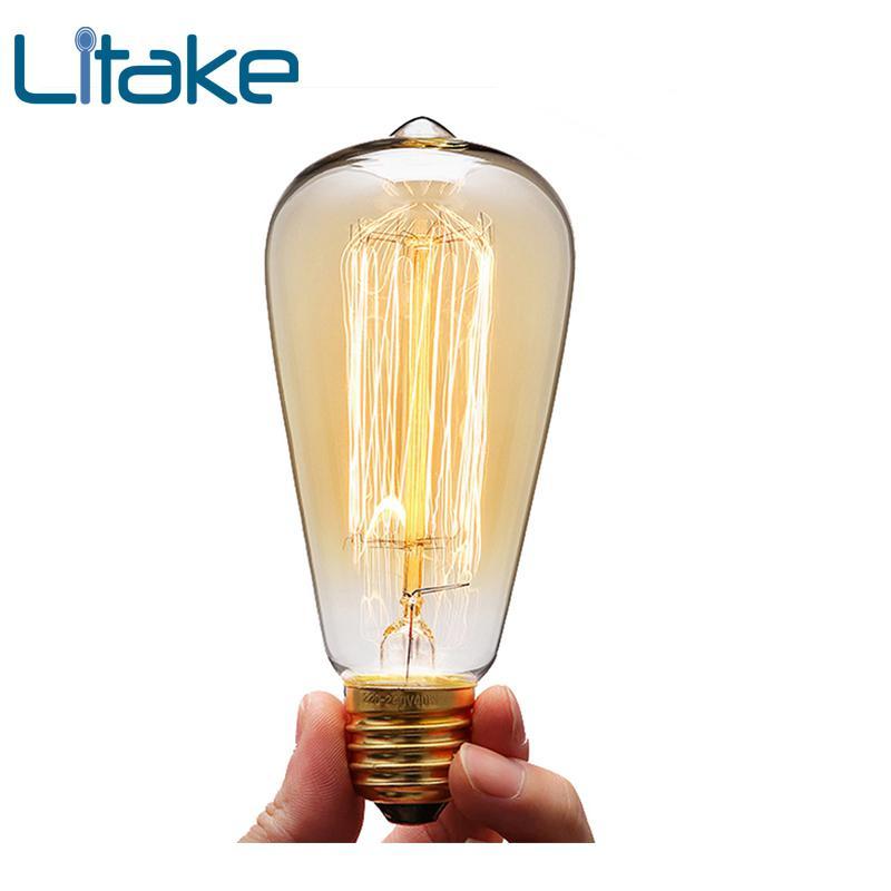 Litake 40W E27 220-240V Edison Light Bulb, Retro Yellow Light W-filament Bulb Coffee House Decor Industrial Style Lamp