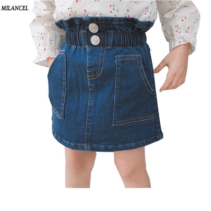 Mädchen Kleidung Mode Kinder Mädchen Gerissen Ausgefranst Stretch Denim Rock A-linie Elastische Taille Kinder Sommer Kleidung 1-6y StraßEnpreis