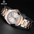 Megir marca de relojes de lujo mujeres completa de acero inoxidable reloj de oro de las mujeres relogio feminino de negocios de cuarzo reloj mujer montre femme