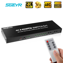 4K HDMI Switcher Selector Hub 6x1 with Remote Control,Optical Spdif Toslink,3.5mm Audio Output цена