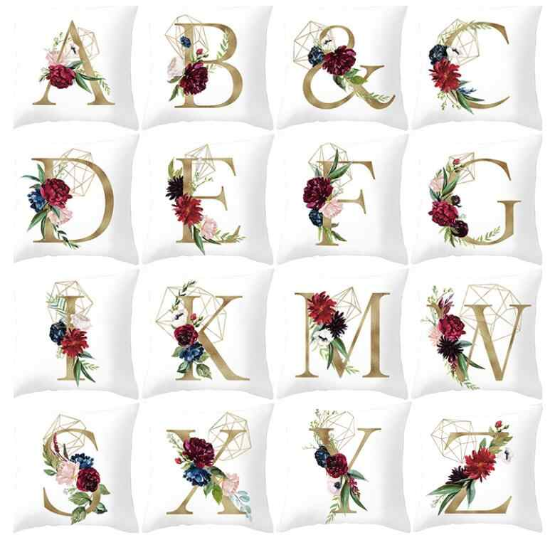 Gold Letter Pillow Case 45*45cm Flower Geometric Throw Pillows Sofa Home Decorative Living Room Cushions Cover
