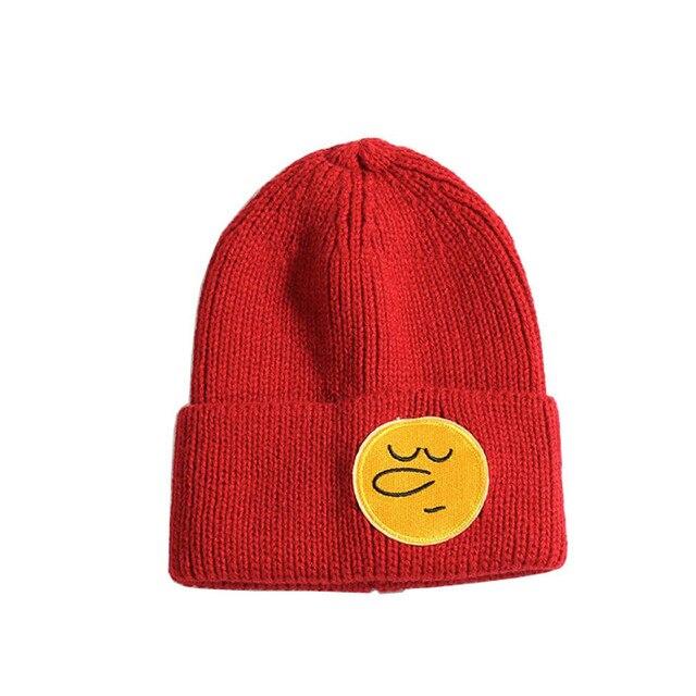 3117d0b36a7c0 Fashion winter hat Baby Knit Hat Kids Girls Boys Winter Keep Warm Wool Emoji  Beanie Hat 56-58cm bucket hat knit cap beard