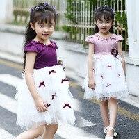 שמלות ערב בגדי תינוקות בנות ילדים רשת שמלת מותג קיץ בגדי ילדי שמלת נסיכת פעוט הילדה Vintage 5-14 שנים