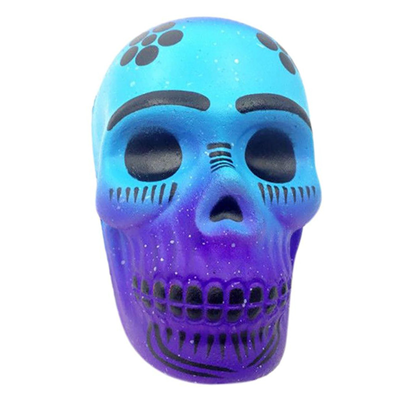 New Skull Squishy Simulation Soft Tricky Doll Slow Rising Straps Bread Cake Scented Stress Relief Squeeze Toy Funny Kid Gift