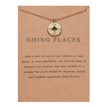 Going Places Exquisite Charms Popular Gold Silver color Paper Card Compass Vintage Alloy Necklace 2 Size Fashion Women Jewelry image