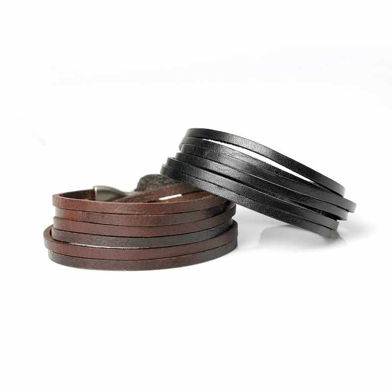 XQNI New Fashion Genuine Leather Hook Bracelets For Men Women Popular Knight Courage Bandage Charm  Bracelets & Bangles.