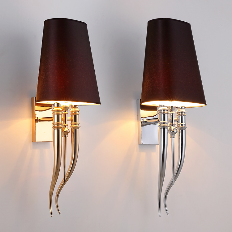 Modern Iron Claw Horn Cloth Wall Light Bedroom Bedside Wall Lamp E27 Luminaire double slider Wall Sconce Light fixtures
