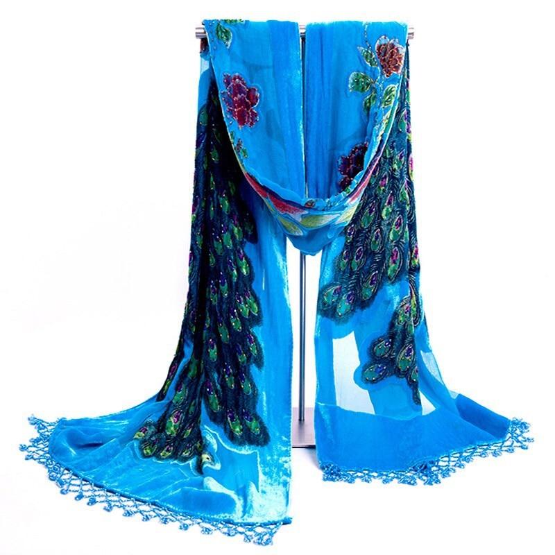 Горячая Распродажа черный женский бархатный шелковый вышитый бисером шаль шарф обертывание шарфы Peafowl WS006-H - Цвет: Lake blue
