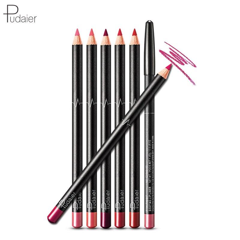 Pudaier 6PCS/Set 6 Colors Lip Liner Set Matte Lipliner Pencil Waterproof Nude Lip Liner Makeup Products Cosmetic for Lips Makeup