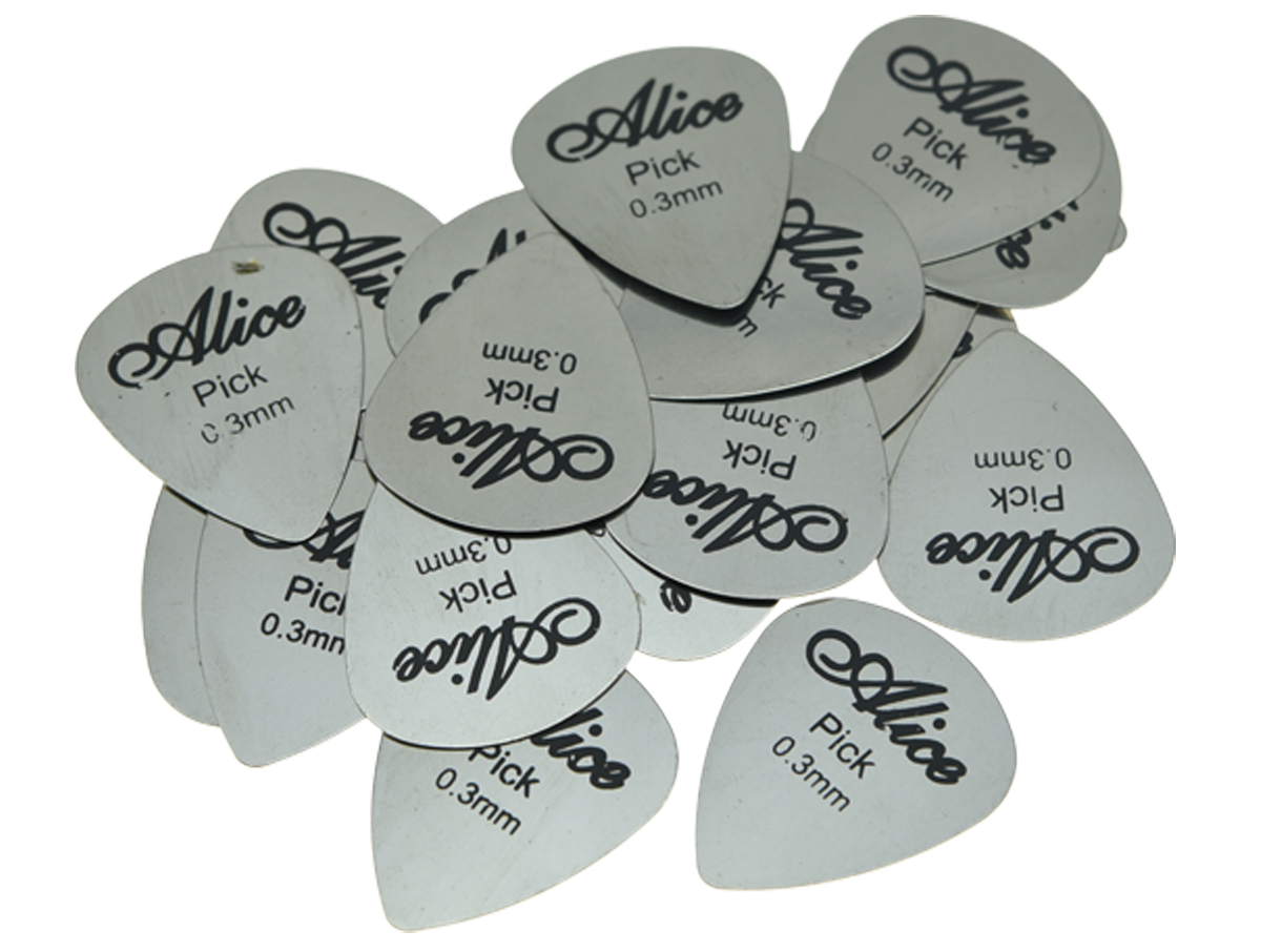 30pcs Alice Metal Guitar Pick Picks Stainless Steel Plectrums 0.3mm Thickness