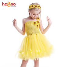 Sunflower Girls Tutu Dress with Headband Petals Embellished Princess Tulle Dress Children Birthday Party Performance Clothes недорого