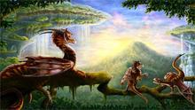 fantasy art dragons waterfall forest trees landscapes 4 Sizes wall picture Canvas Poster Print