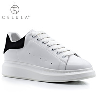 @Cetula 2018 Handcrafted Female White Smooth Calf Leather Lace up Sneaker With Rounded Toe & Trimmed With Black Suede Counter