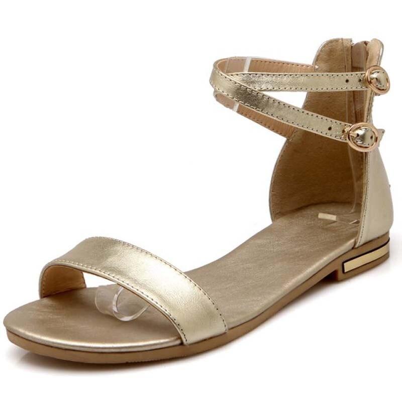 Las Blanco Zapatos Cuero Plana Y0569501f De Nueva Negro champagne blanco Y Mujer Sandalias Verano Señoras Mujeres Pu Negro oro 1Pfnq8BE