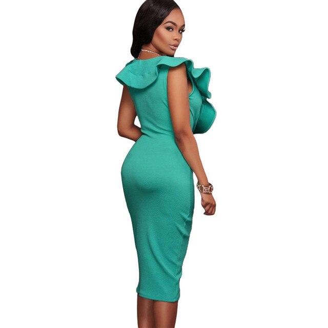 489f8ad963ae Sexy Bodycon Midi Dress 2017 Summer Ruffle Wrap Dresses Casual Office  Sleeveless Pencil Dress Club Party Vestidos ST21