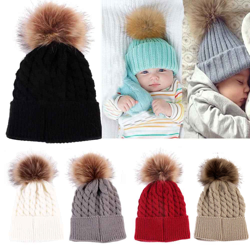 Newborn Cute Winter Kids Baby Hats Knitted Wool Hemming Hat