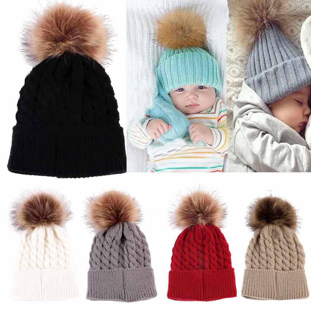 ทารกแรกเกิดน่ารักเด็กฤดูหนาวเด็กหมวกถักหมวก Hemming
