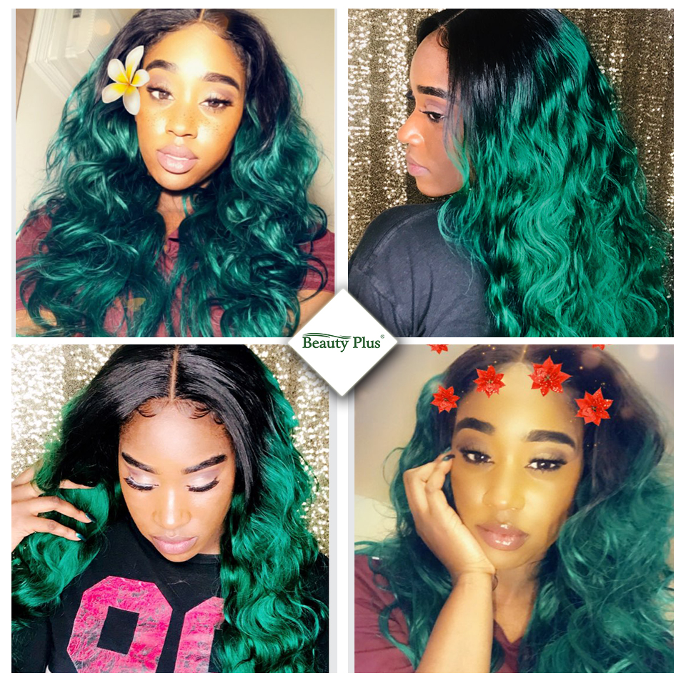 ombre green bundles with closure buyer share 100% 5 stars feedback