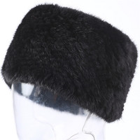 Valpeak Real Mink Fur Scarf Women Winter Knitted Fur Headbands Ring Collar Natural Elastic Warm Hat Genuine Mink Fur Scarf