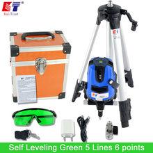 KaiTian Green Laser Level Tripod Tilt Function Euro Plug 635nM Lazer Level 5 Lines 6 Points