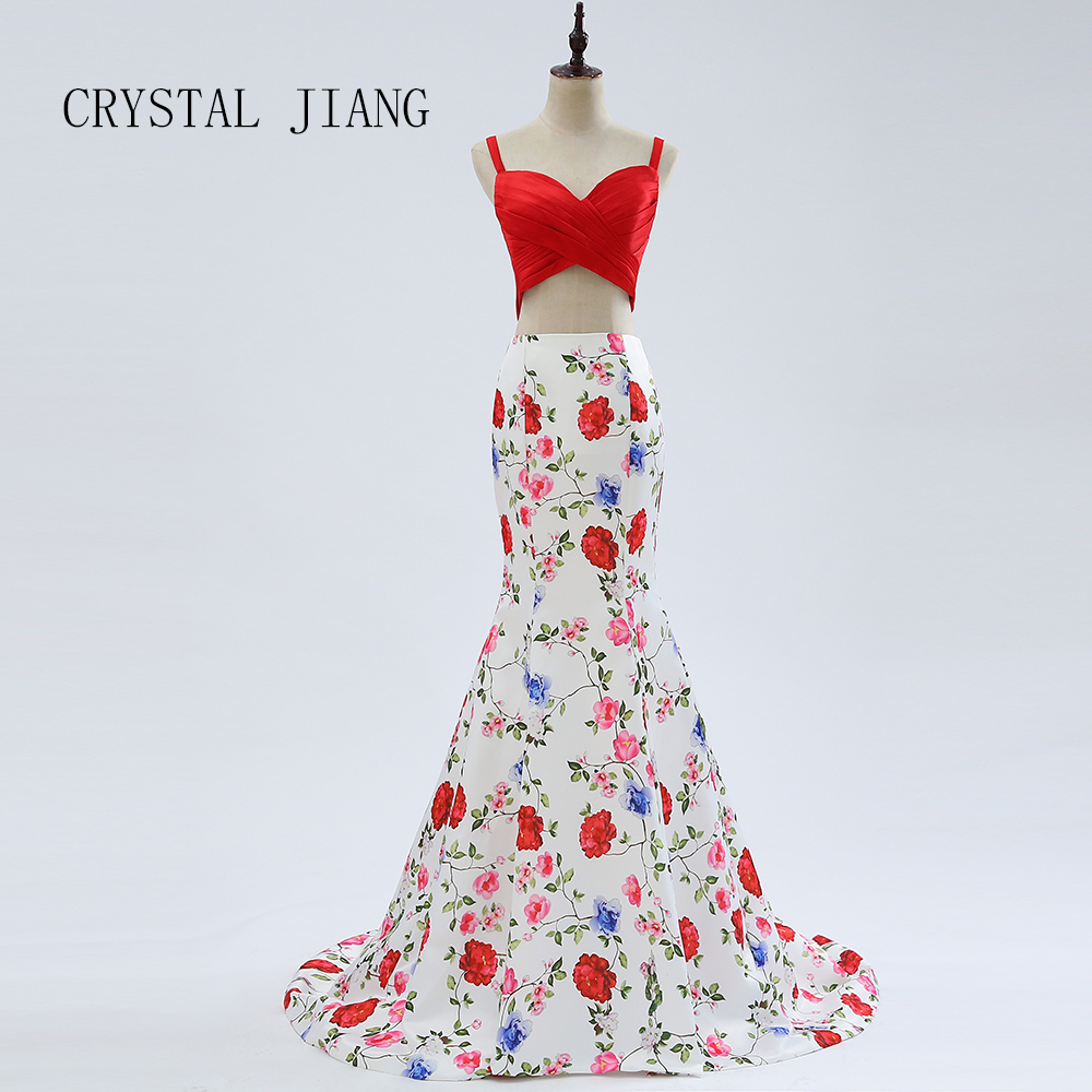 CRYSTAL JIANG 2018 Elegant Sweetheart Two Pieces Floral Printed Party Gown Mermaid Cheap   Prom     Dresses   for Ladies Real Photo
