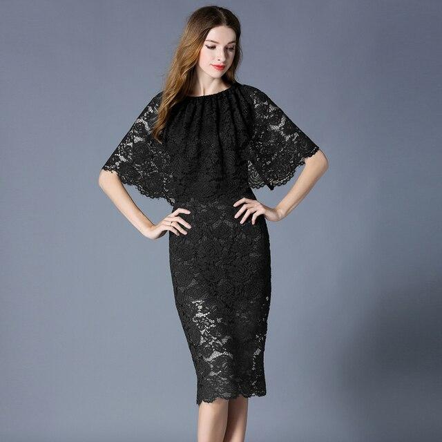 34bc6b4c59 2017 Primavera Verano nueva moda manto de encaje manga vestidos de Color  sólido vestido medio-