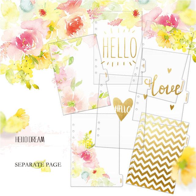 Dokibook A5 A6 Transparente divisores de lámina de Oro de impresión Flores 12 Hojas 12 Meses Página de relleno de oro Separador divisores