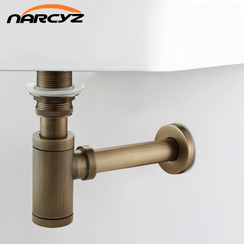 New Bottle Trap Brass Round Siphon Antique color/ Black Drain Kit Bathroom Vanity Basin Pipe Waste With Pop Up Drain XSQ1-8