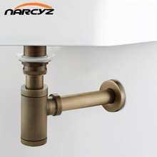 New Bottle Trap Brass Round Siphon Antique color/ Black Drain Kit Bathroom Vanity Basin Pipe Waste With Pop Up Drain XSQ1-8(China)