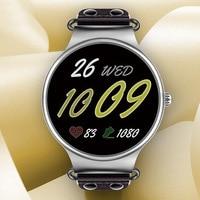 Круглый кожаный Смарт наручные часы для Для женщин Bluetooth монитор сердечного ритма крови Давление Фитнес трекер спортивные интеллектуальны