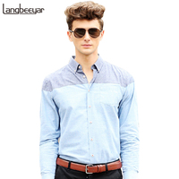 2016 New Fashion Casual Men Shirt Long Sleeve Patchwork Slim Fit Shirt Men High Quality Cotton