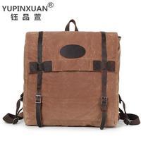 YUPINXUAN Europe Mens Waterproof Backpacks 14 Laptop Rucksack Retro School Bags Pure Cotton Canvas Cow Leather