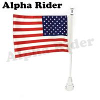CNC Aluminum USA Rear Side Mounting Luggage Rack Vertical Flag Pole American For Harley Touring Road
