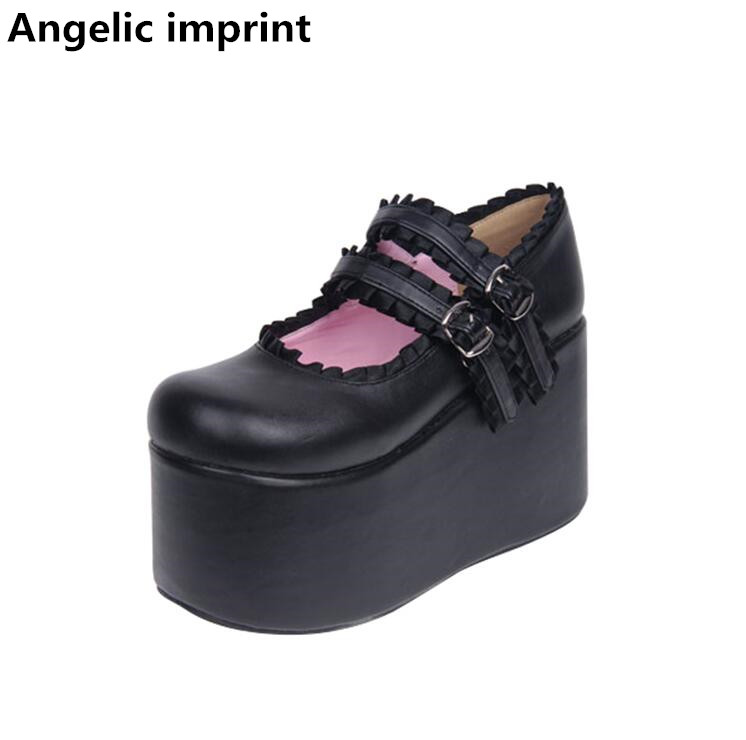 Angelic imprint woman mori girl lolita cosplay shoes lady high wedges heels pumps women princess dress