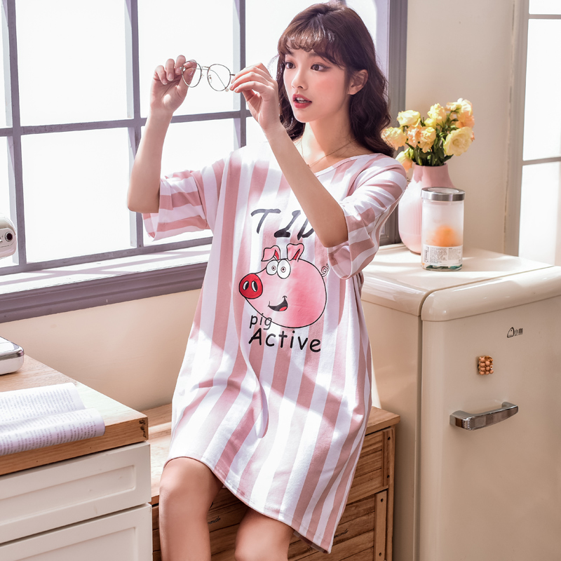 Summer New 35% Cotton O-neck Women Short Sleeved Sleepwear Mini   Nightgowns   Nightwear Nightdress Sleepwear   Nightgown     Sleepshirts