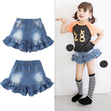 New Baby Girl Fashion Summer Cowboy Flounced Bread Pants Briefs Short Pants Children Clothing Kids Clothes Girls