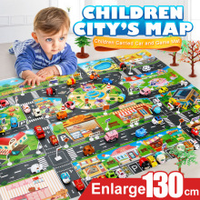 39 шт. Карта города, игрушки, модель, коврик для ползания, игровой коврик для детей, интерактивный игровой домик, игрушки(28 шт. дорожный знак+ 10 шт. автомобиль+ 1 шт. карта