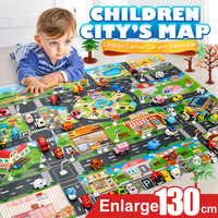39 Pcs Cidade Mapa Carro Modelo Brinquedos Rastejando Game Pad Tapete para As Crianças Brincar de Casinha Brinquedos Interativos (28 Pc sinal de estrada + 10 Carro Pc + 1 Pc Mapa)