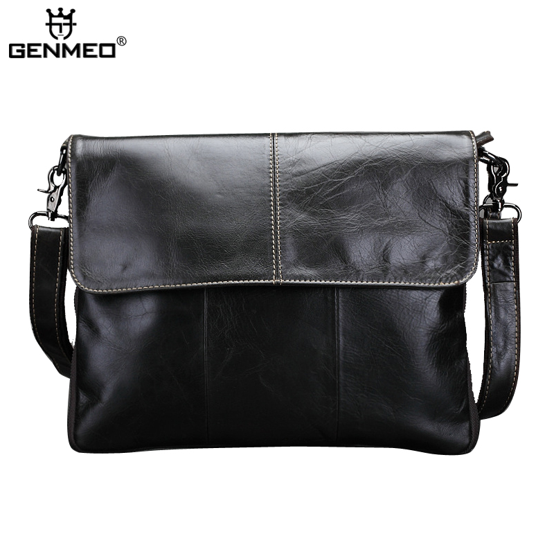 New Arrival Vintage Cow Leather Briefcase Men Genuine Leather Business Handbag Retro Messenger Bag Oil-wax Shoulder Bags vintage genuine leather men shoulder bag briefcase bags crazy horse oil wax leather brand business handbag available for a4
