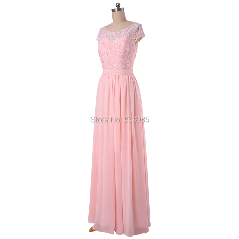 Glamorous Pink Chiffon Scoop Short Sleeve Best Selling Sexy Backless ...