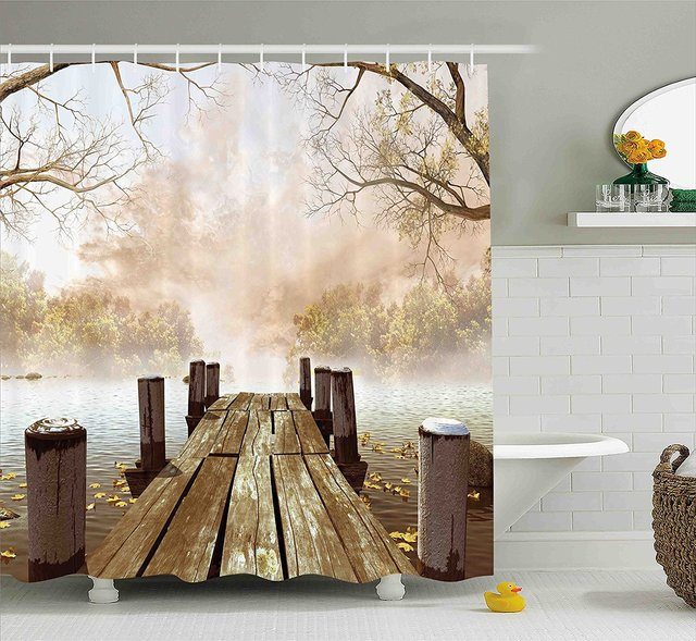 Fall Wooden Bridge Foggy Scene Lake River Print Polyester Fabric ...