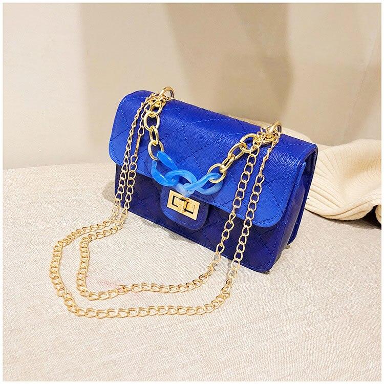 Luxury Women Classic handbag Designer Pink Blue Gradient PU Leather Lingge Shoulder Bag (2)