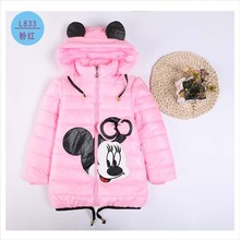 2016 Girls Winter Coats Ourwear Children Minnie Cartoon High quality winter Jacket Baby Girls Cotton Long