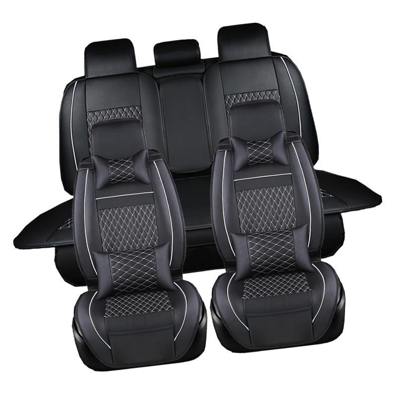 Cubierta de asiento de Pu A prueba de agua negro Juego completo cubierta de asiento de cuero impermeable para coche Protector de cojines de Auto para Fiat viagg ottimo - 2