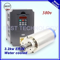 380v Water Cooled Spindle 3 2kw ER20 Water Cooling Wood Working Spindle 3kw 4 Pcs Bearings