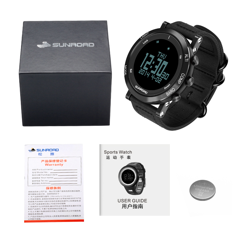SUNROAD outdoor sports men waterproof digital watch compass pedometer wristband nylon LED chronograph