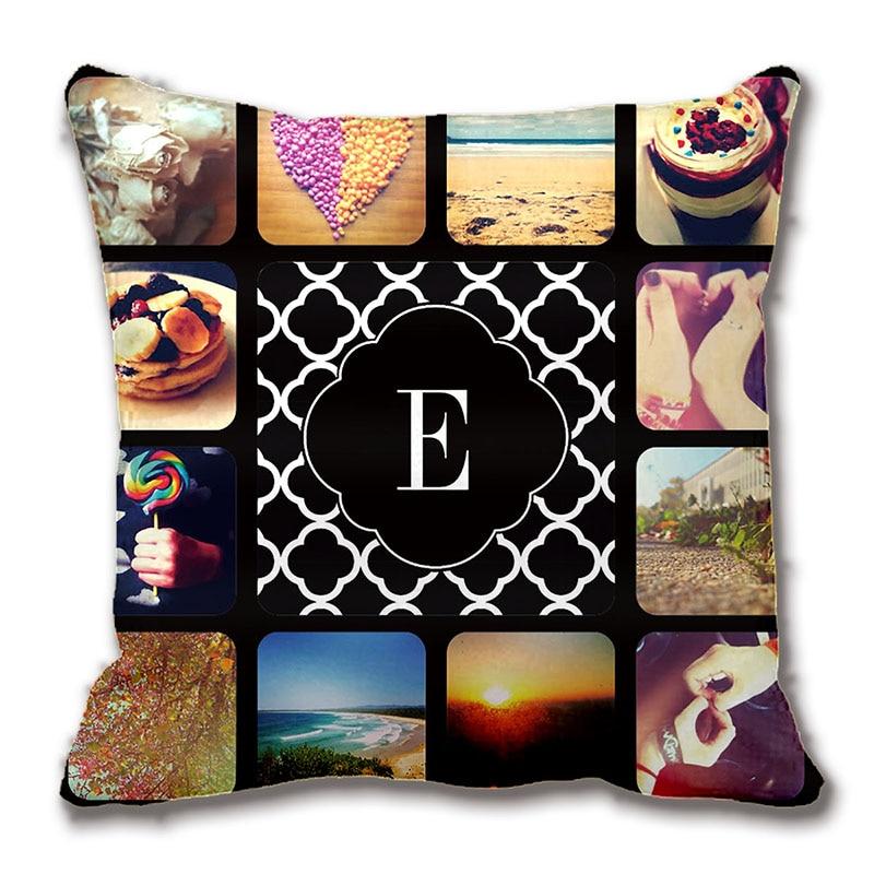 create your own photo monogram throw pillow case decorative cushion cover pillowcase customize. Black Bedroom Furniture Sets. Home Design Ideas