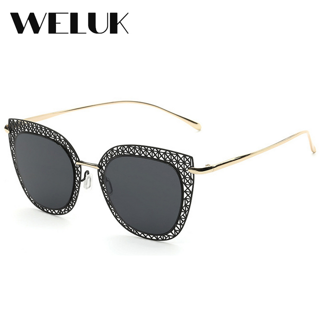 d5524c6b77 WELUK New Sunglasses for Woman Cat Eye Retro Metal Hollow Sunglasses High  Definition polarized sunglasses oculos